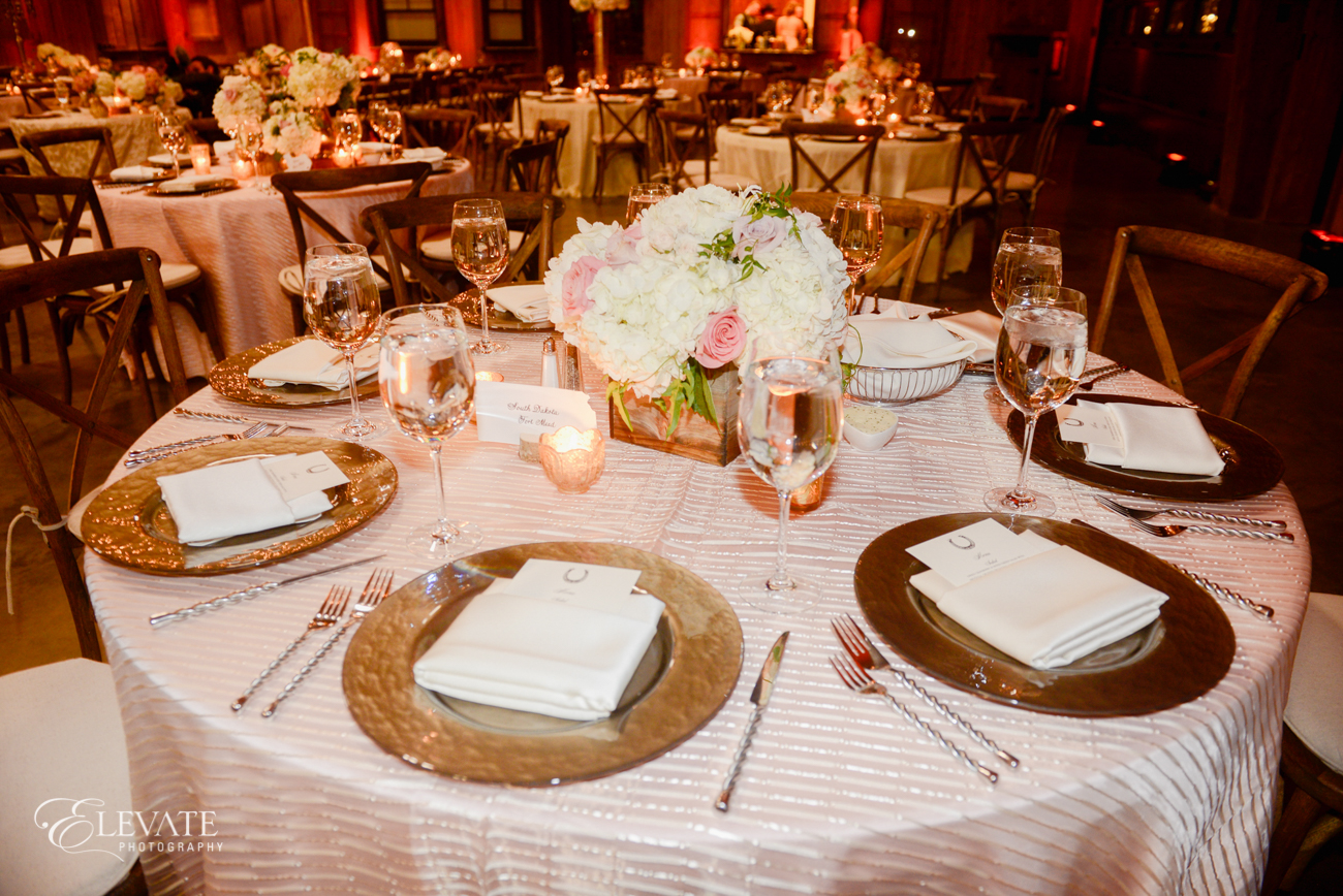 elegant table setup at a Spruce Mountain Ranch wedding