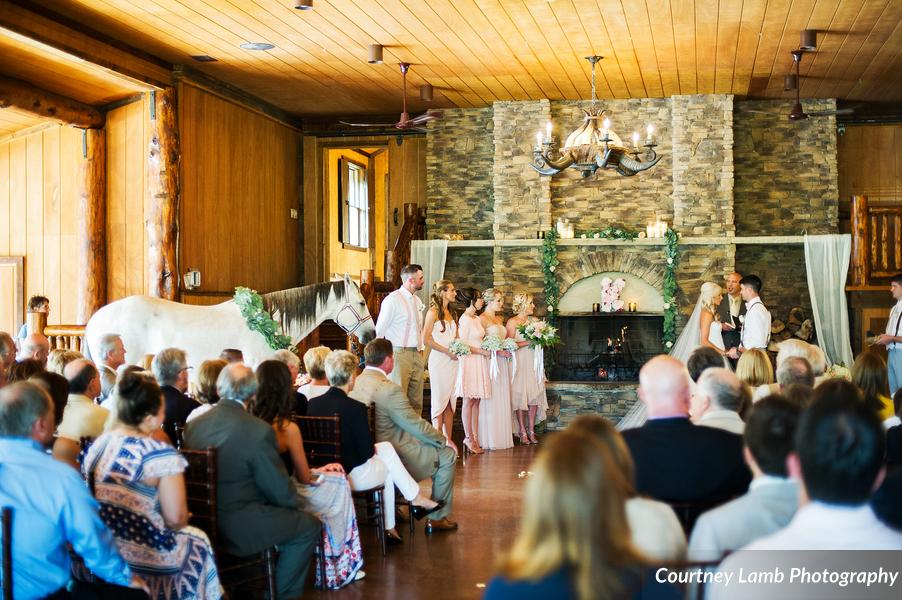 Ranch Wedding Indoor Ceremony with a Horse